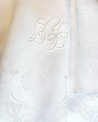 6 Antique French Linen Damask Napkins Monogram LCJ