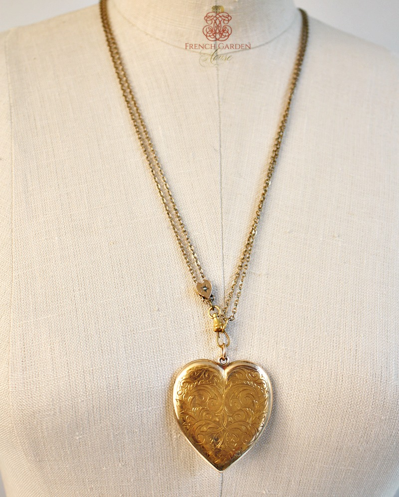 Antique Large Heart Locket and Slide Chain