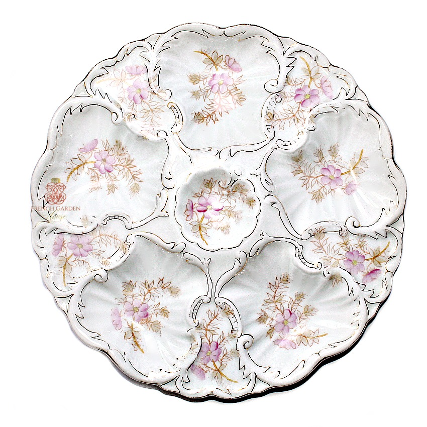 Antique Carlsbad Porcelain Oyster Plate with Pink Flowers