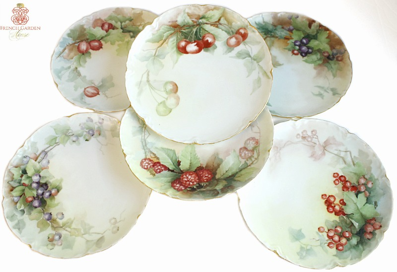 Antique Hand Painted Limoges Porcelain Dessert Berry Plate Set of 6