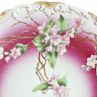 Antique Hand Painted Limoges Cerise Pink Blossom Plate
