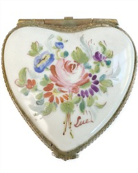 Vintage French Limoges Hand Painted Floral Miniature Heart Box