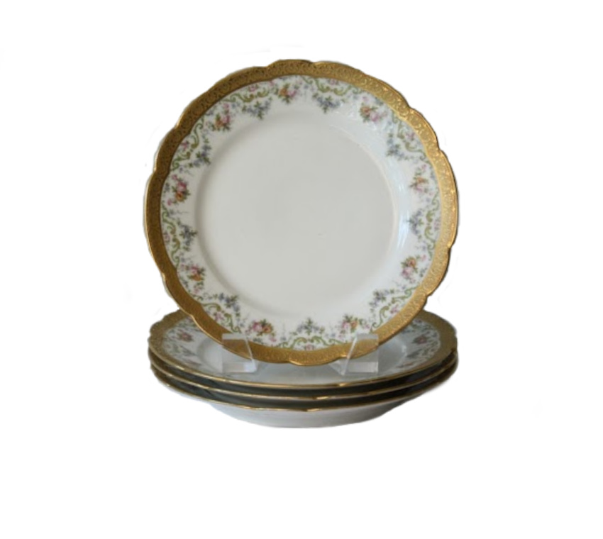 Antique French Pouyat Limoges Hand Enameled Gold Encrusted Plates Set of 4