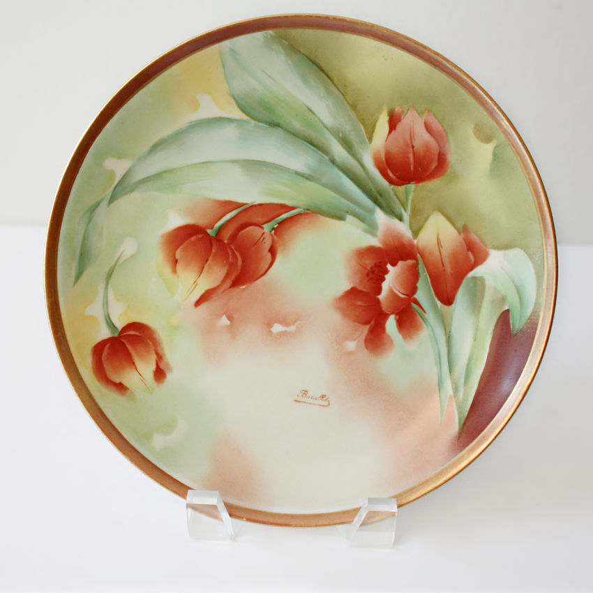 Antique French Limoges Signed Hand Painted Cabinet Plate with Tulips