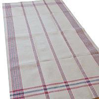 Antique Hand Woven Linen Tea Towel Blue Red Stripe