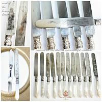 Set 12 Antique Silver and Mother of Pearl Desert Luncheon Knives and Forks