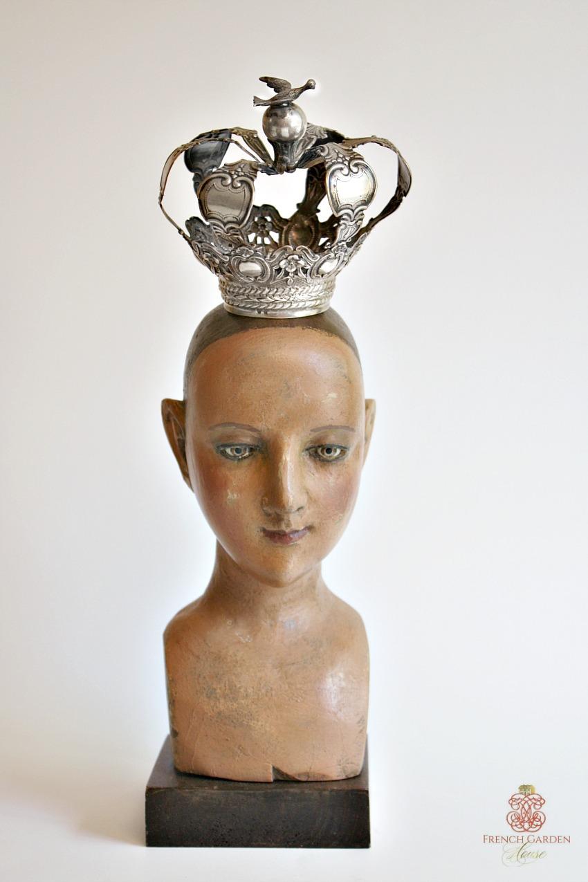 Antique Carved Madonna Santos Head with Silver Crown