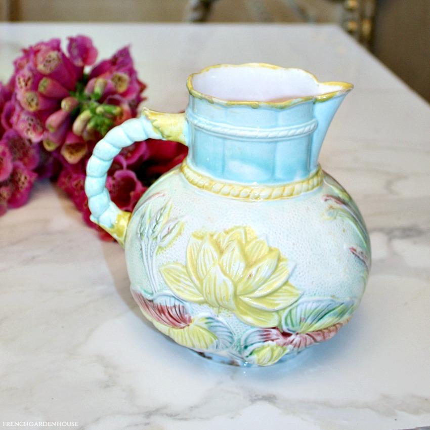 Antique Art Nouveau Majolica Lily Pitcher Aqua