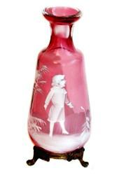 Antique Cranberry Glass Mary Gregory Enameled Bud Vase