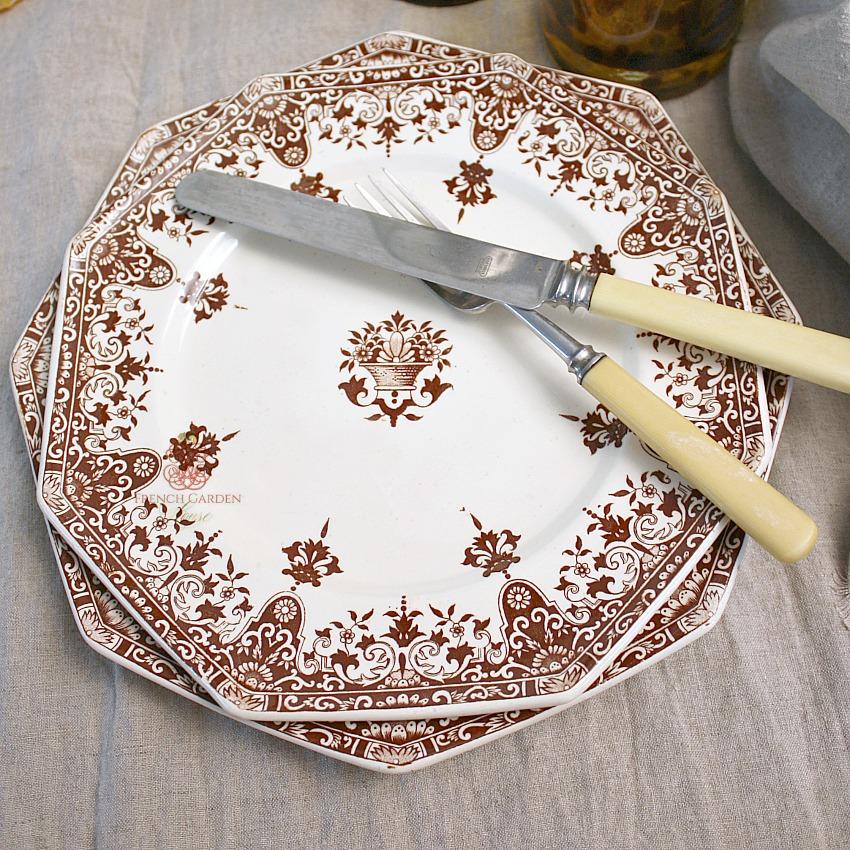 Antique French Brown Transferware Medium Plates Rouen Set of 4