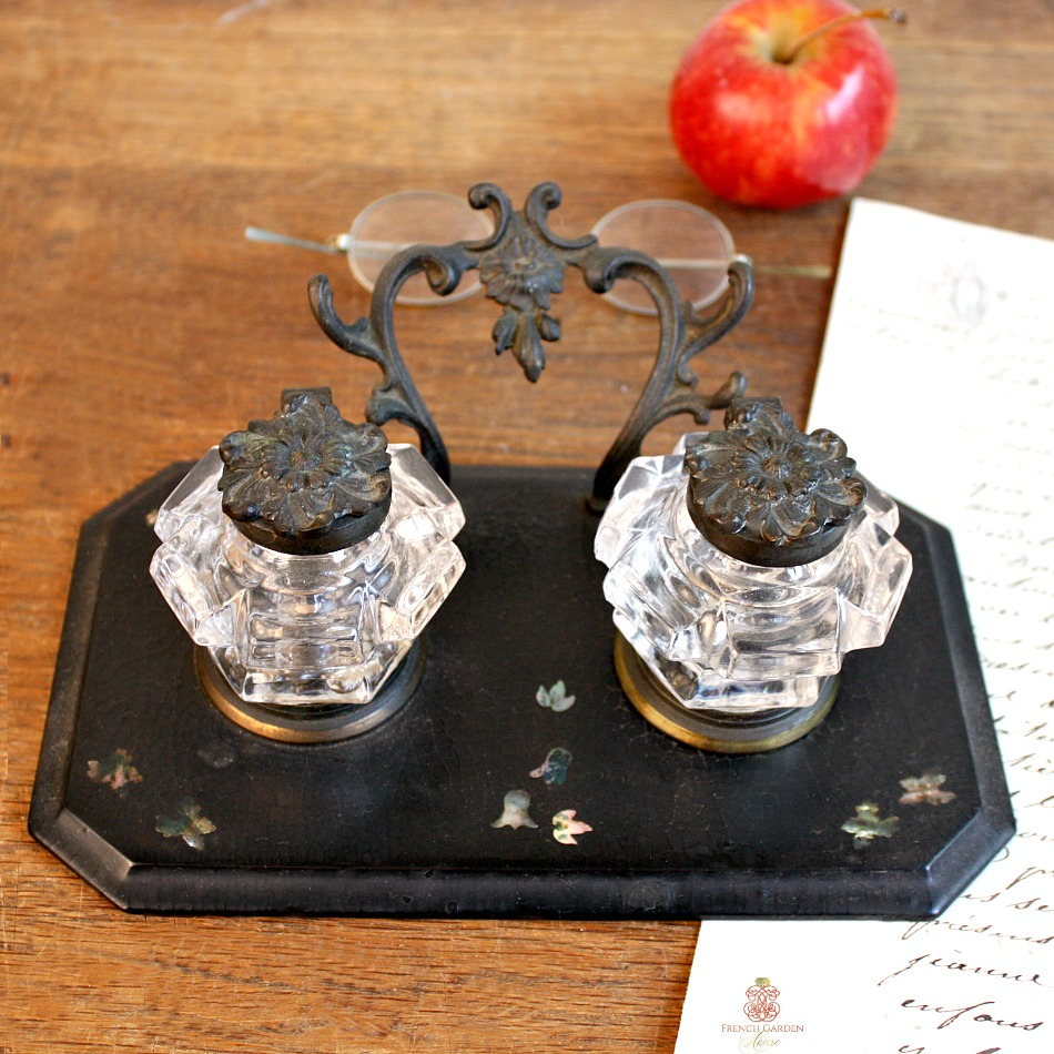 Antique Black Lacquered Papier Mache Double Inkwell MOP