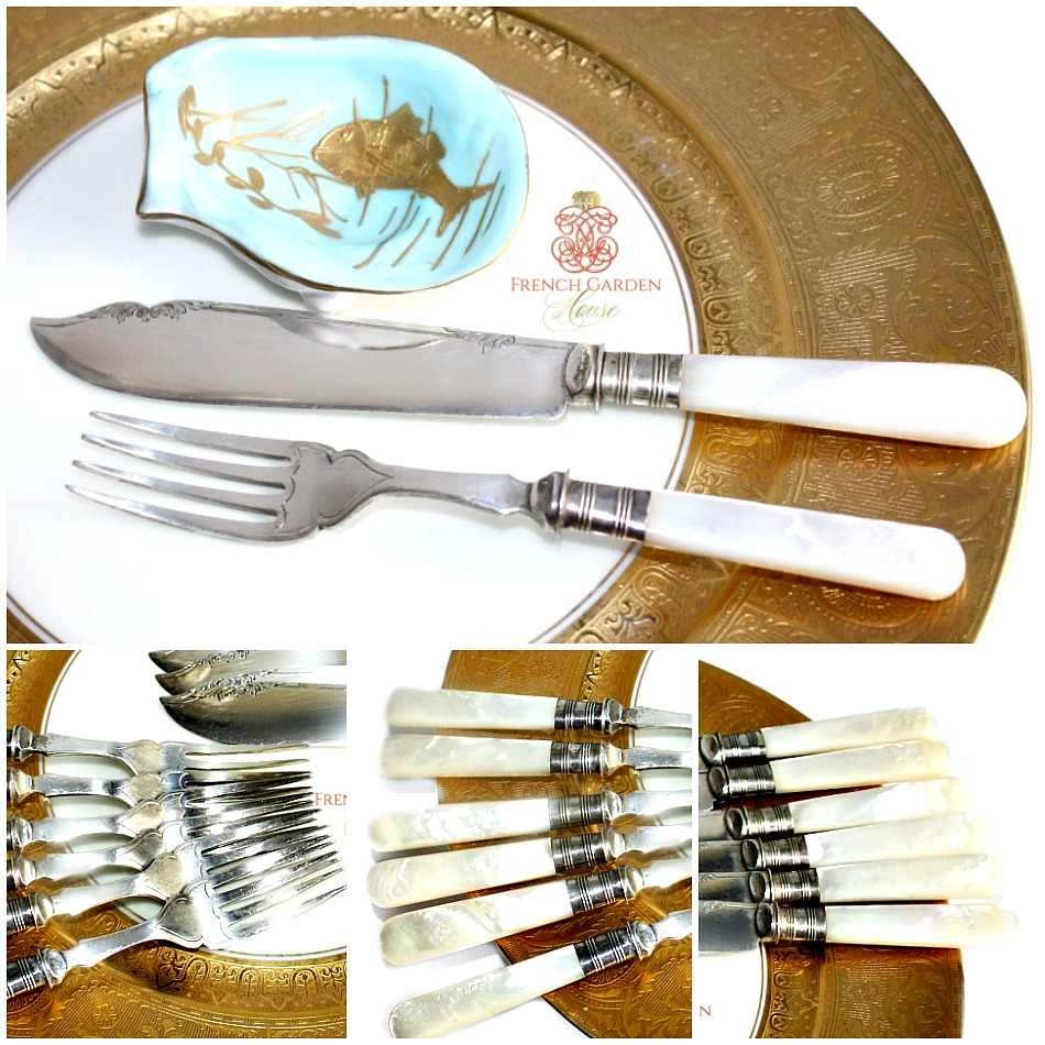 Exceptional Antique English Mother of Pearl Fish Service for 6 and Serving Pieces