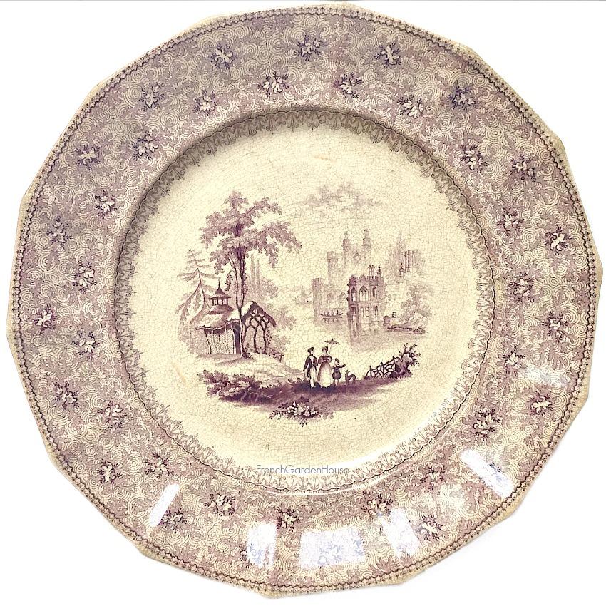 19th Century Mulberry Purple Transfer Plate Garden Scene