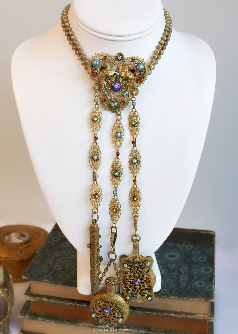 Antique Gilt Chatelaine with Guilloche Enamel Stones