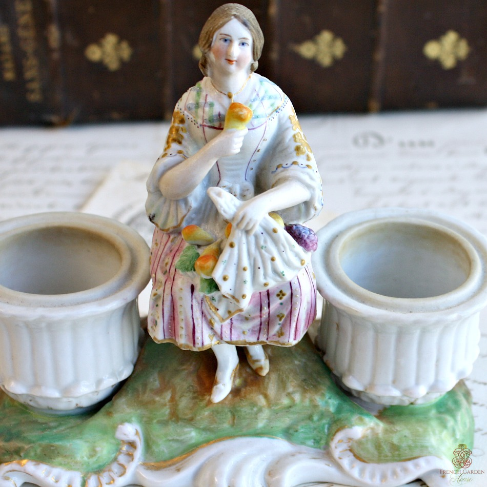Antique Old Paris French Estate Figural Double Inkwell