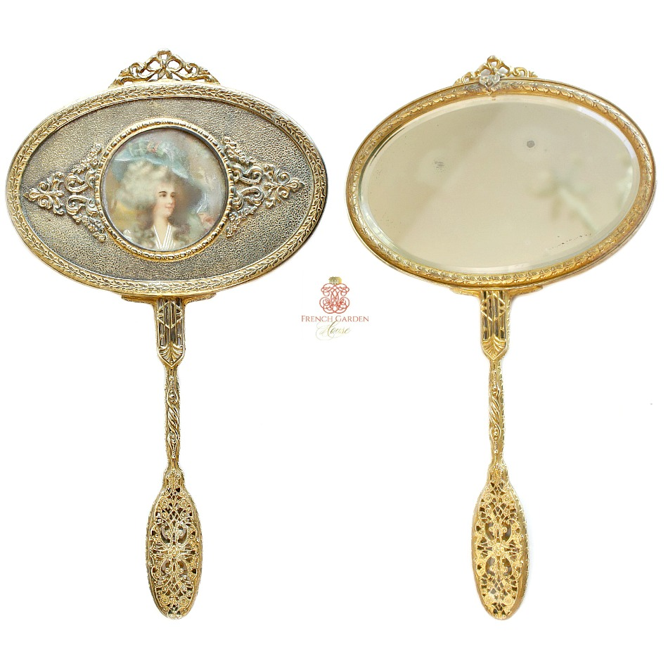 Antique Gilt Hand Mirror with Hand Painted Lady's Portrait