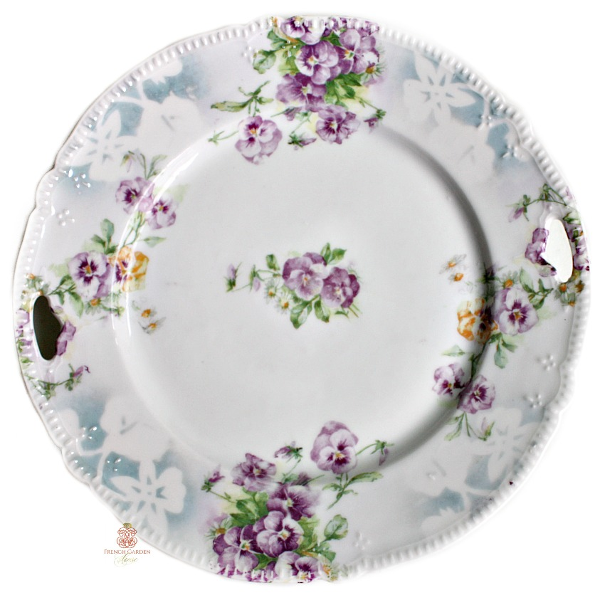 Antique Victorian Schoenberg Pansies Cake Plate