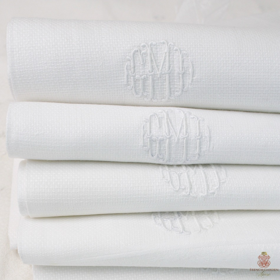Estate Pique White Monogrammed Guest Towels Set of 5 GMD