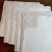 Antique Heirloom Linen and Point de Venise Lace Napkins Set of 5