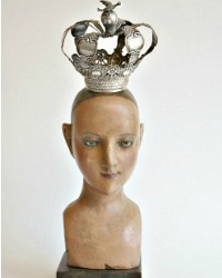 Antique Carved Madonna Santos Head with Silver Crown