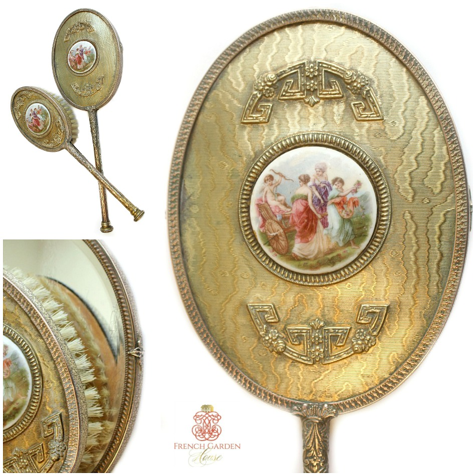 Antique Apollo Studios Gilt Boudoir Hand Mirror & Brush Cherubs Set