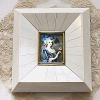 Antique Hand Painted Miniature Portrait Frame Marie Antoinette