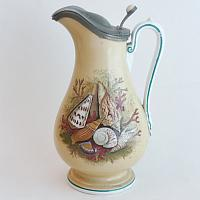 19th Century Prattware Seashell Ale Jug with Pewter Lid