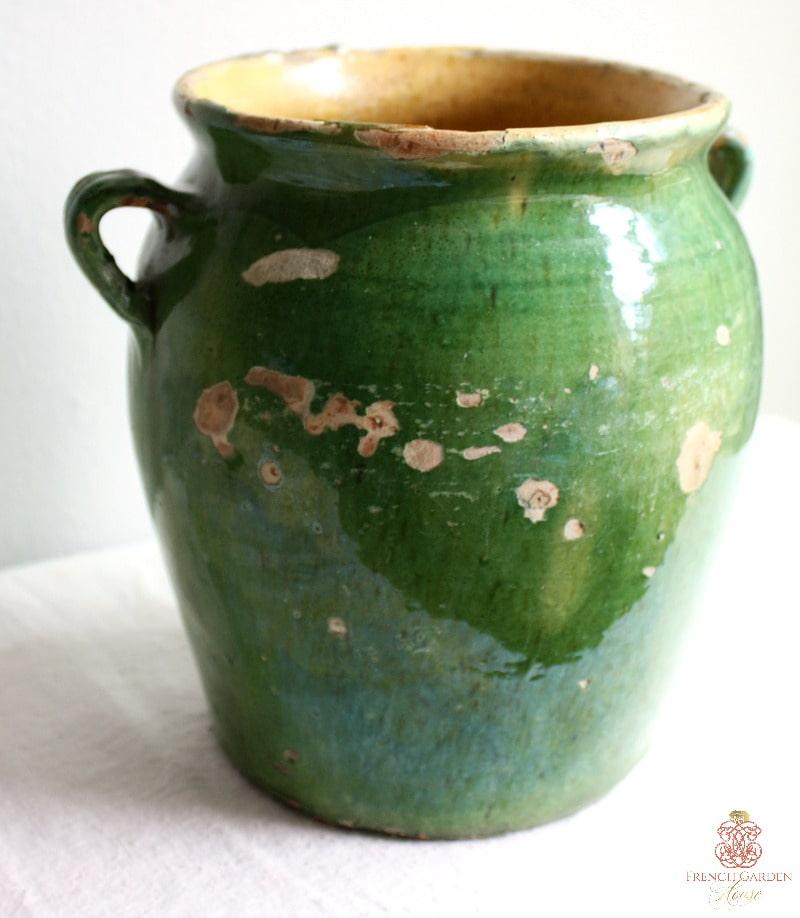 Antique French Green Glazed Confit Pot
