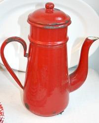 Vintage Shabby Enamelware Red Coffee Biggin