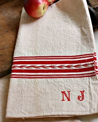 Antique French Hand Woven Linen Red Monogram N J Towel