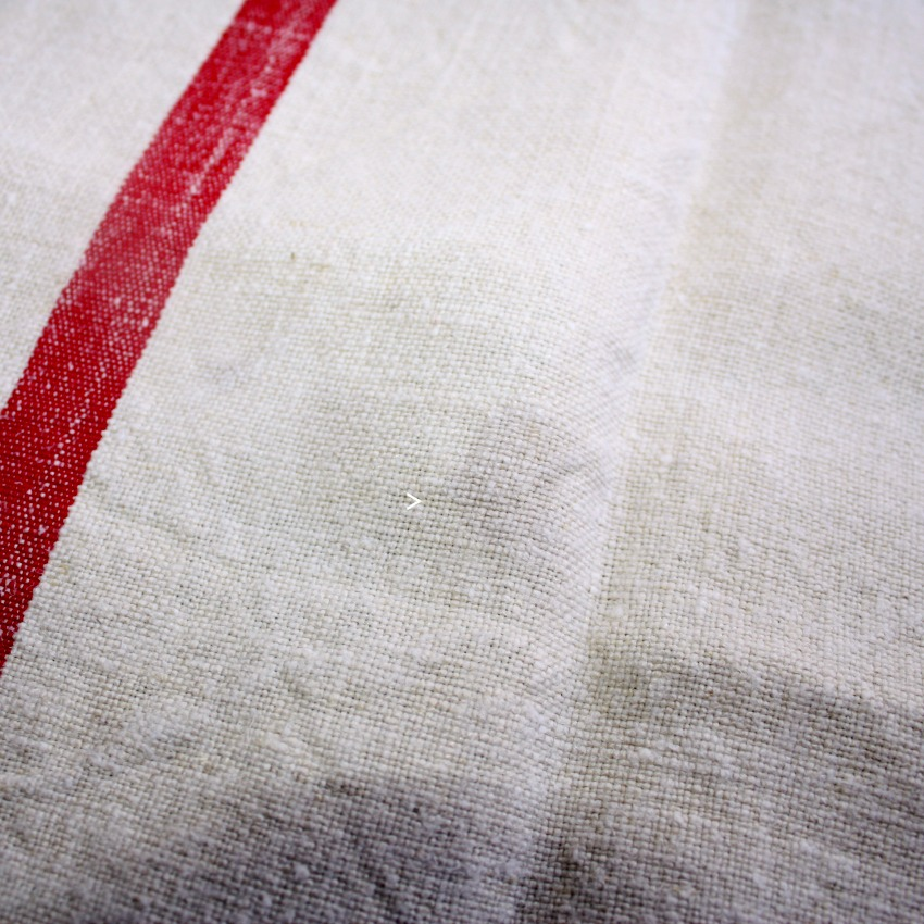 Antique French Hand Woven Natural Linen Towel With Red Stripes