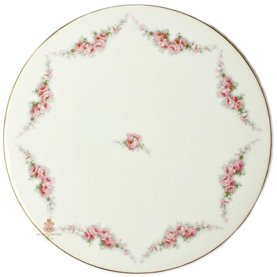 1920's Pink Rose Garland Cake Plate