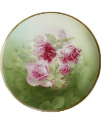 Antique Hand Painted Pink Roses Porcelain Plate Wahliss Set of 4