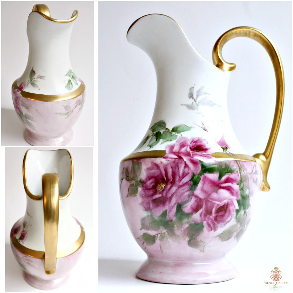 Exquisite Signed Hand Painted Porcelain Pitcher Pink Roses