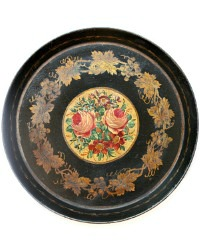 Antique Toleware Round Tray Black with Roses
