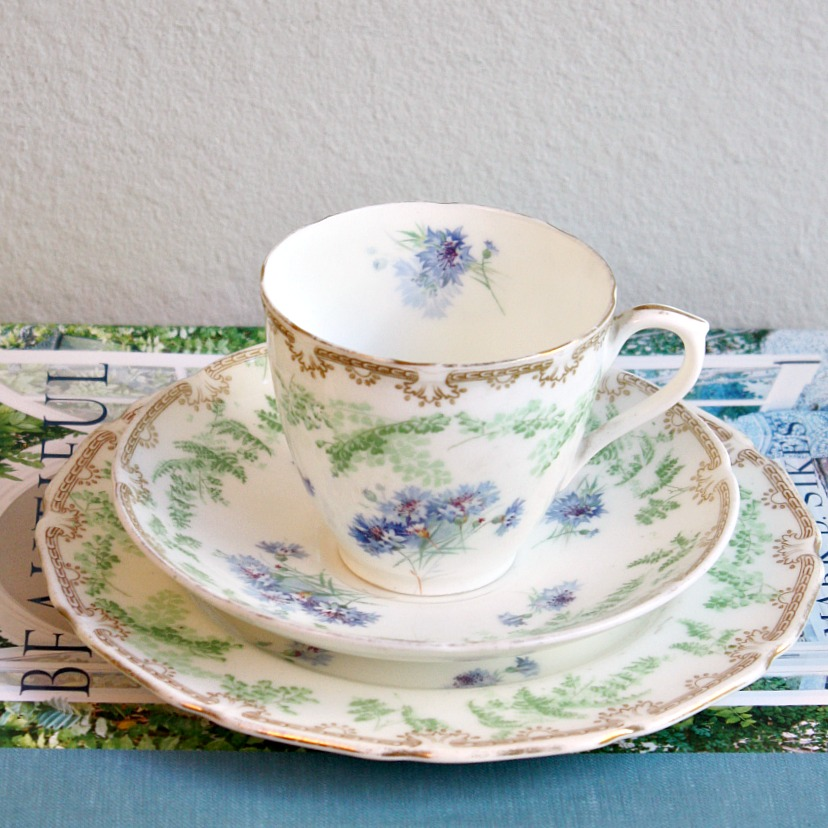 1930's Royal Doulton Blue Cornflower Porcelain Tea Cup Trio