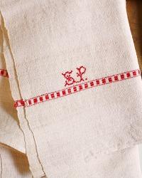 Antique French Linen Towel Monogram S P