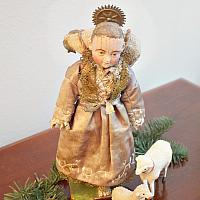 Antique Lamb of God Christ Child with Sheep