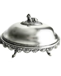 Antique Silver Plate Beurrier Baquet Server Goat Figural Handle