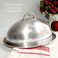 Vintage Hotel Silver Food Dome and Serving Tray