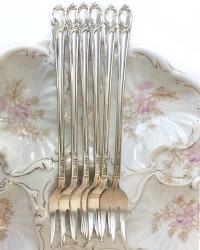 Antique Silver Quadruple Plated Oyster Seafood Forks Floral Set of 6