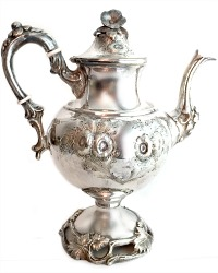 Antique Embossed Floral  Silver Plate Large Teapot