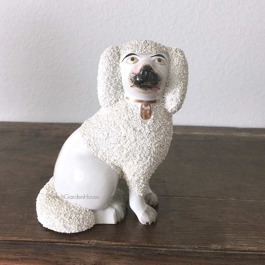 Staffordshire Poodle Dog with Gold Locket