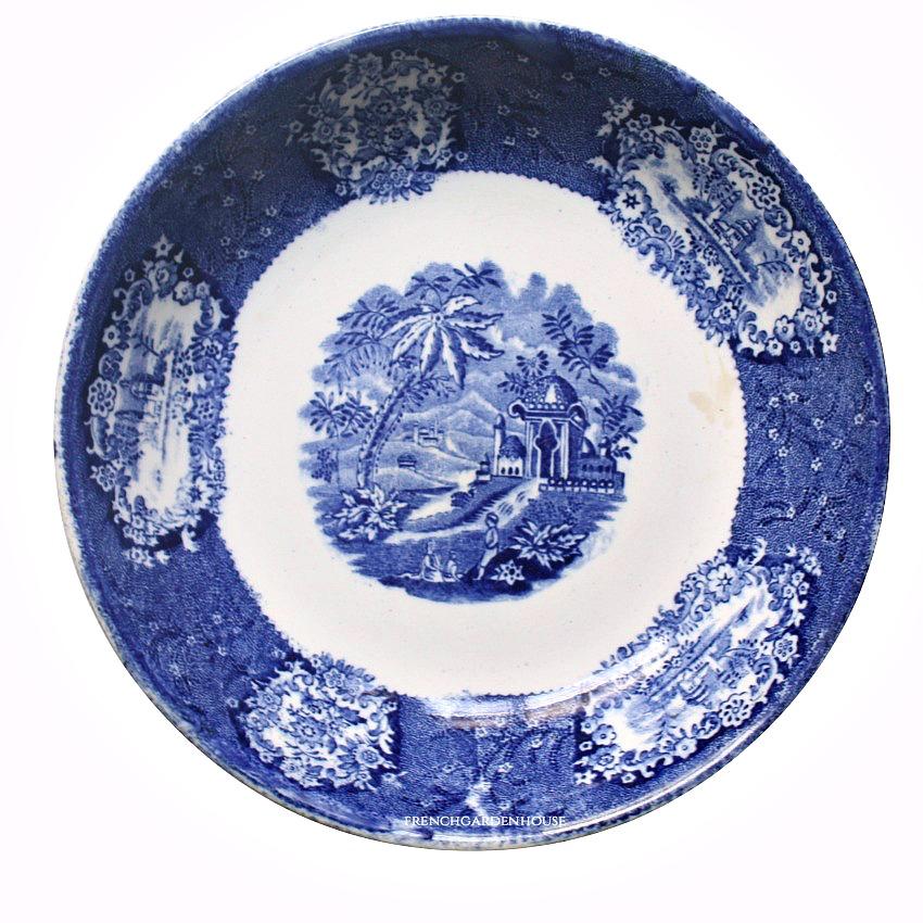 Antique Blue Transferware Grand Tour Deep Plate