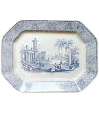 19th Century English Blue and White Ironstone Platter Belle