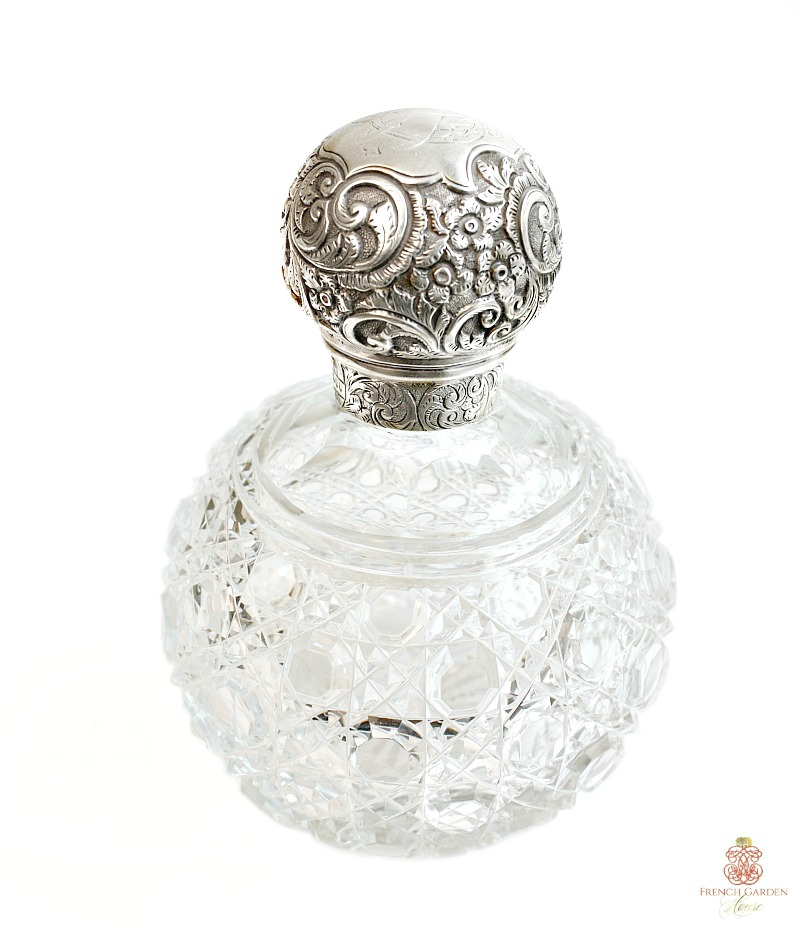 Antique Sterling Silver and Crystal Large Perfume Bottle