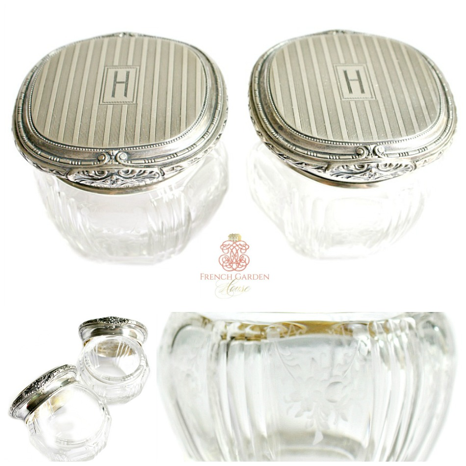 Antique Sterling Silver and Etched Cut Crystal Vanity Jars Pair