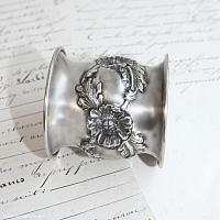 Antique Sterling Repousse Floral Napkin Ring