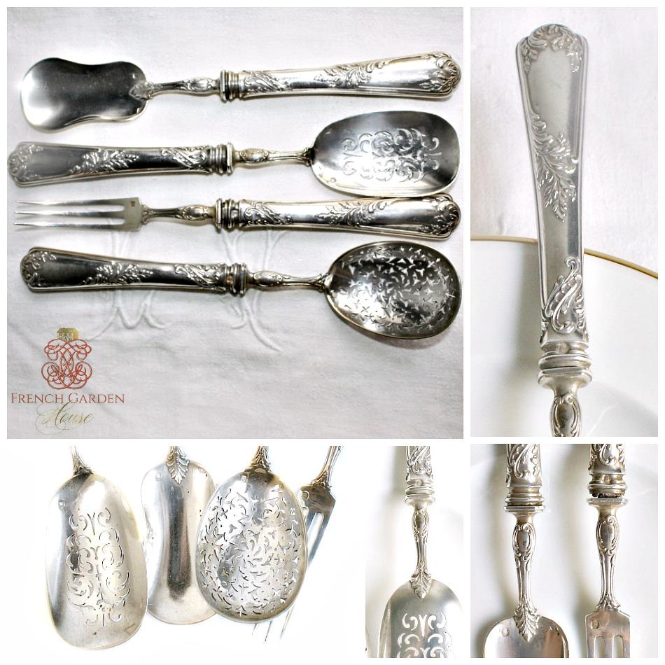 Antique French Sterling Silver Puiforcat Four Piece Dessert Set