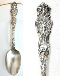 Antique Sterling Silver Maiden and Cherubs 5 O'clock Spoon